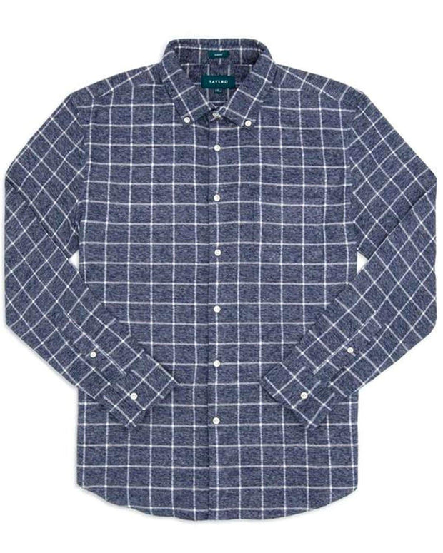 Navy Grey Plaid | Brushed Button Down
