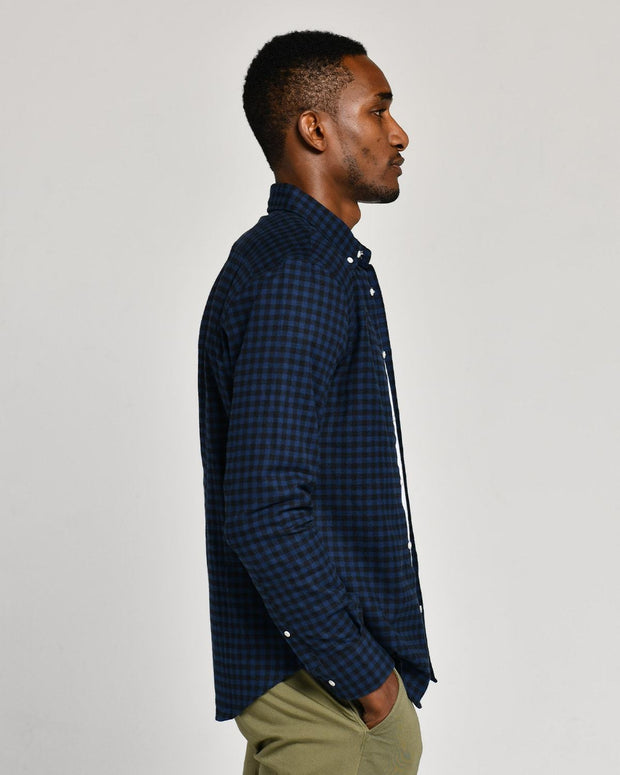 Navy Black | Brushed Button Down
