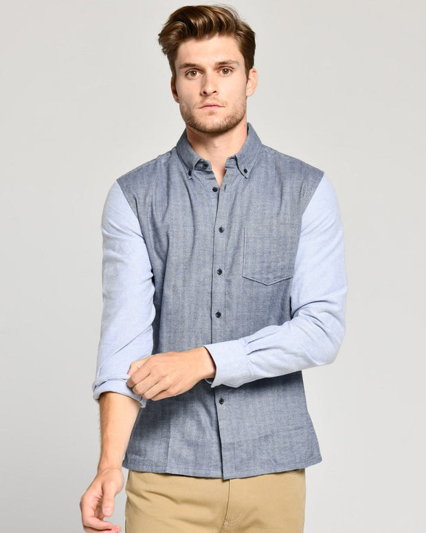 Two-Toned Blue | Brushed Button Down