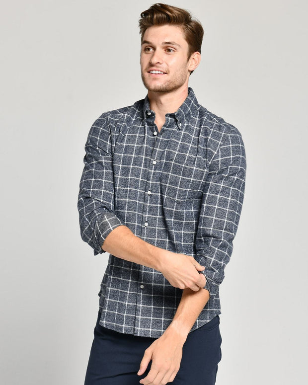 Navy Grey | Brushed Button Down