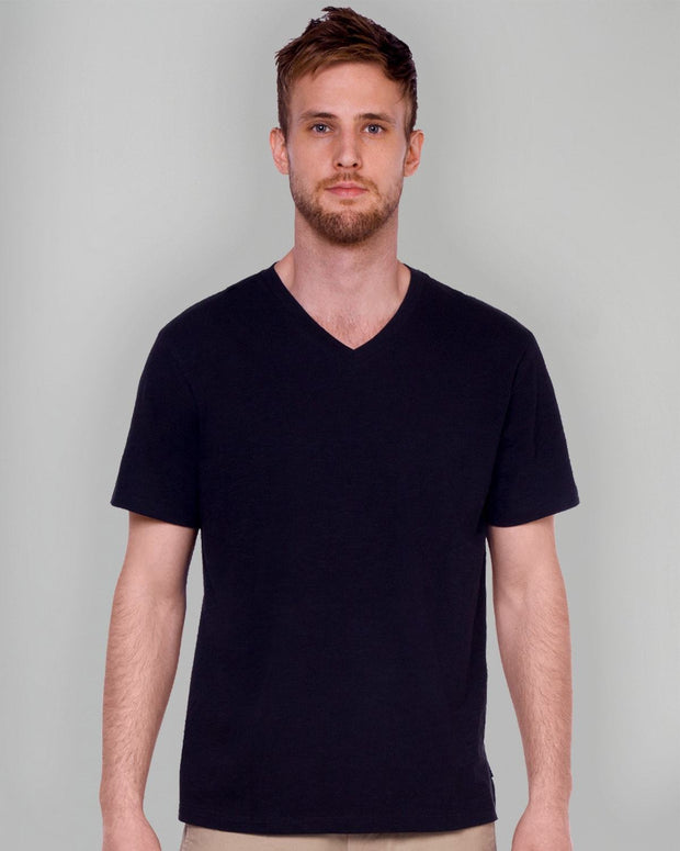 Black Slub V Neck Tee