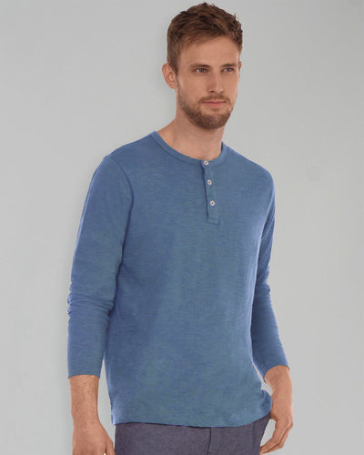 Stone Blue Slub Long Sleeve Henley