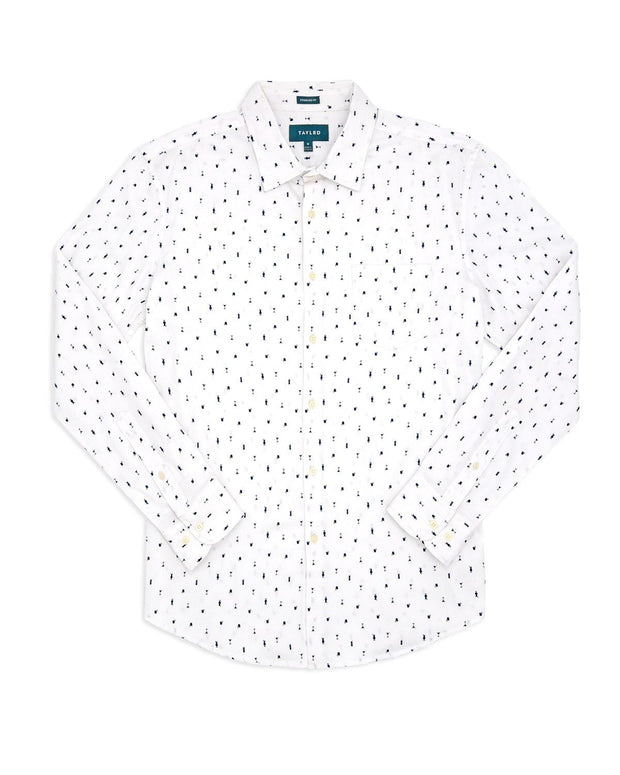 Cocktail Print | Stretch Long Sleeve Button Down Shirt