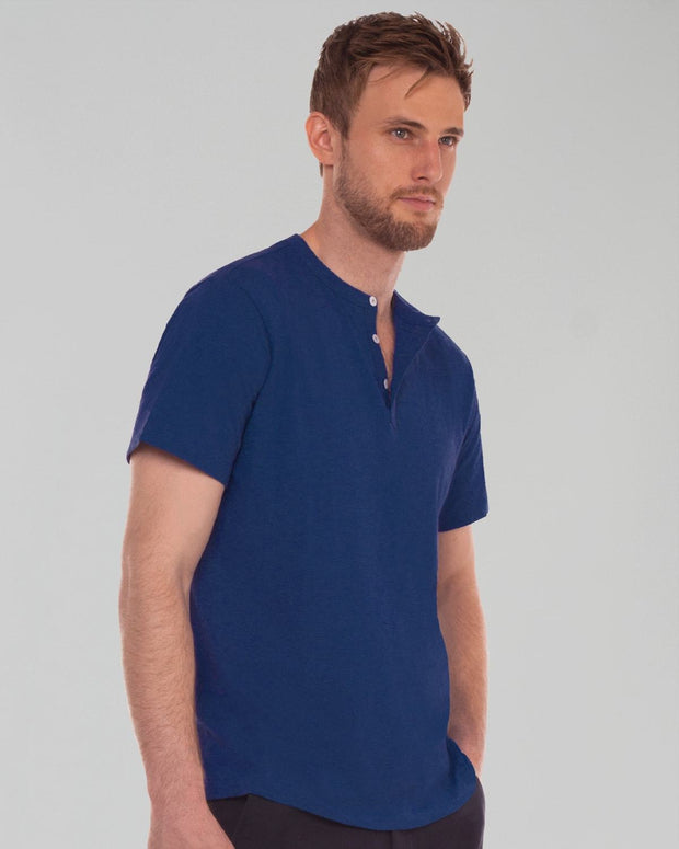 Navy Heather | Short Sleeve Feather Henley