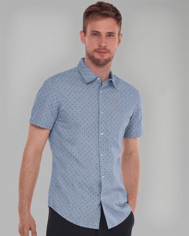Blue Dobby Print | Short Sleeve Button Down