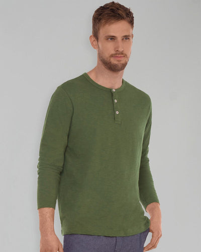 Olive Slub Long Sleeve Henley