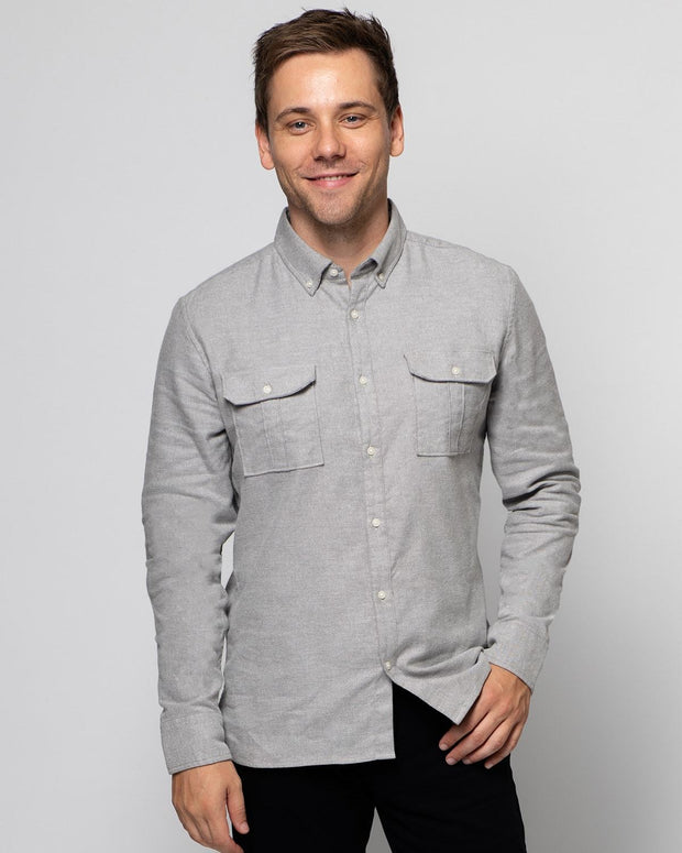 Grey | Brushed Button Down