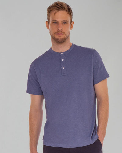 Stone Blue | Short Sleeve Feather Henley