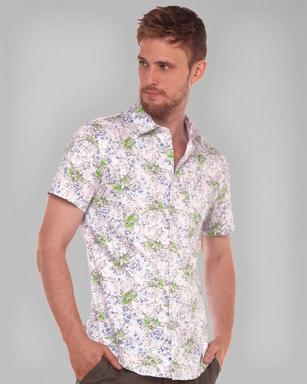Floral Print | Short Sleeve Button Down Shirt