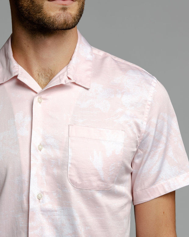 Pink Palm Print | Stretch Short Sleeve Button Down Shirt