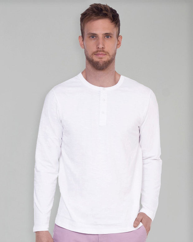 White Slub Long Sleeve Henley
