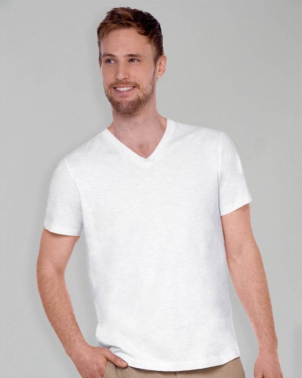 White | Slub V Neck Tee