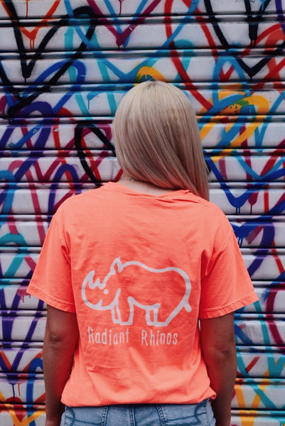 Radiant Neon Red Orange Short Sleeve Pocket Tee