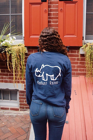 Radiant True Navy Long Sleeve Pocket Tee