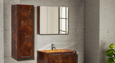 Mira 40 - Calcite Stone Cherry Oak Vanity Set - Sale - Bathroom Vanity Bagnotti USA Luxury European Bathroom Furniture