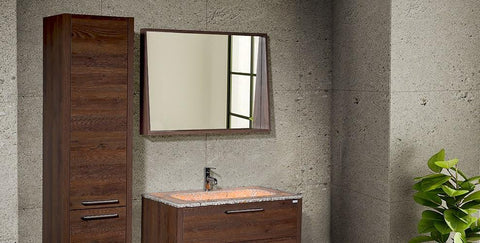 Mira 40 - Tobacco Oak Vanity Set (Free Pop-up Drain) - Bathroom Vanity Bagnotti USA Luxury European Bathroom Furniture