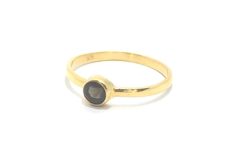 Gold Round Smokey Quartz Stacker Ring