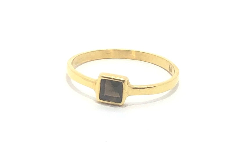 Gold Square Smokey Quartz Stacker Ring