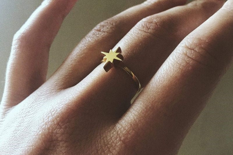 Gold Small Morning Star Ring