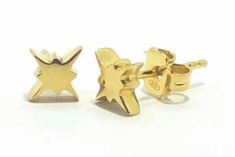 Gold Morning Star Studs