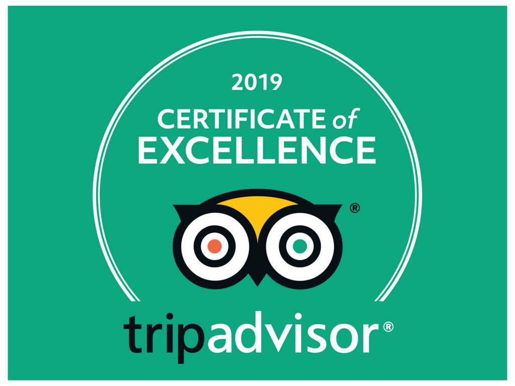 Thanks to our amazing customers, again in 2019 we earned Trip Advisor's Certificate of Excellence!
