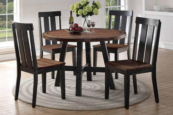 F2322+ F1571 Two Tone Design Dining Table + 4 Chairs
