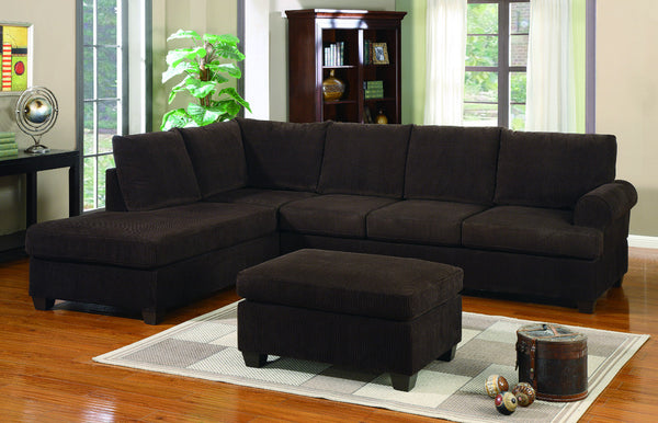 F7135 Chocolate Corduroy Reversible Chaise Sectional Sofa : chocolate corduroy sectional - Sectionals, Sofas & Couches