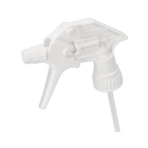 A white industrial sprayer head shown from the left side.