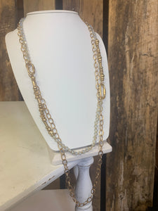 Long Multiple strand clear stone
