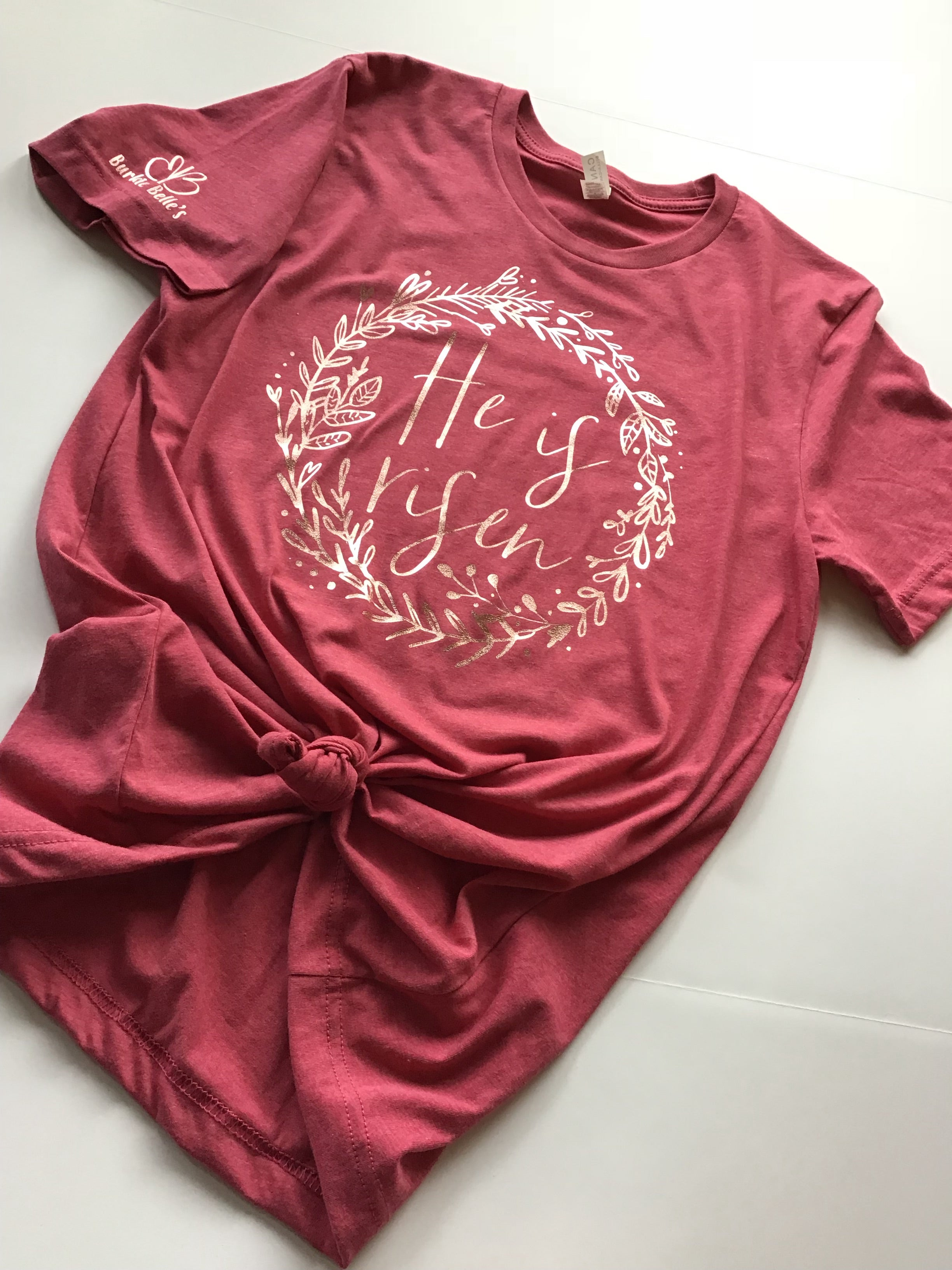 Truth Tee - He is Risen rose gold