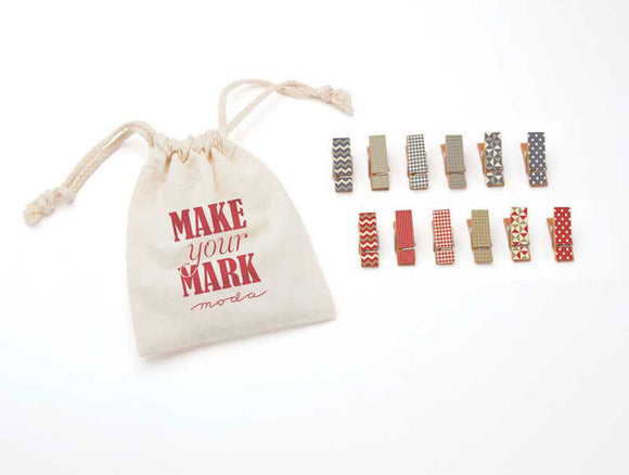 Make Your Mark, Mini Clothespins, Red and Blue