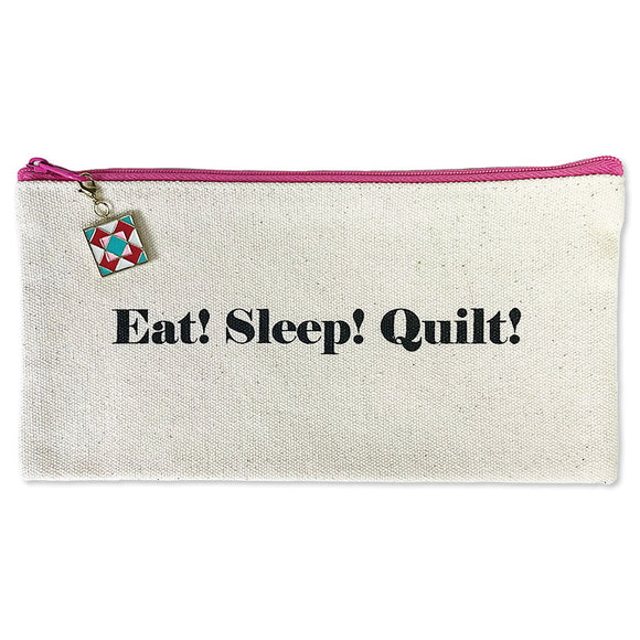 Quilter's Zippered Canvas Bag, Eat! Sleep! Quilt!