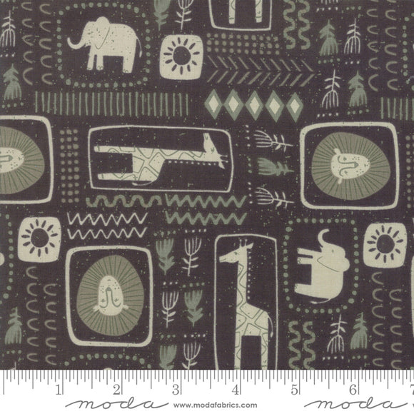 Safari Life, African Block Print, Black