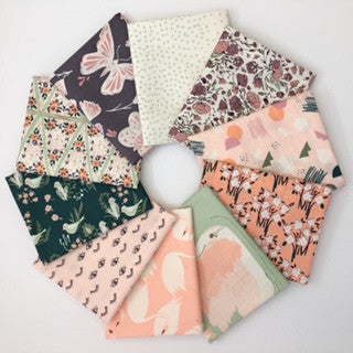 Hello Ollie, Pink Leaves, 1/2 Yard Bundle
