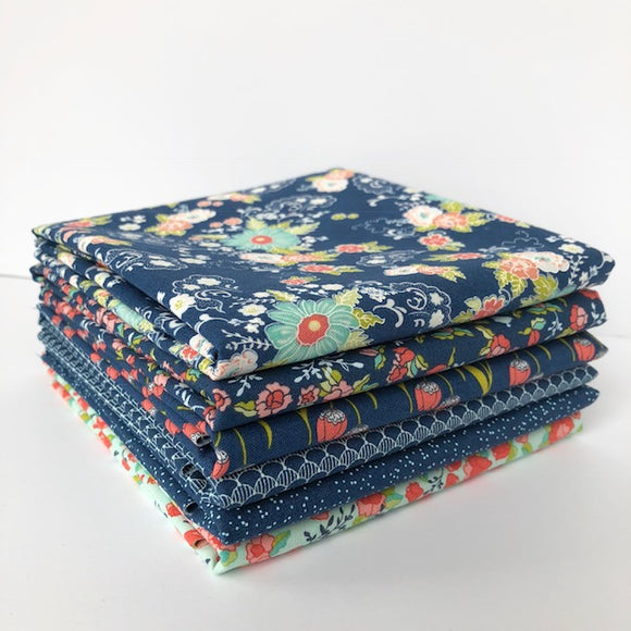 Tuppence, 1/2 Yard Bundle, Navy/Teal