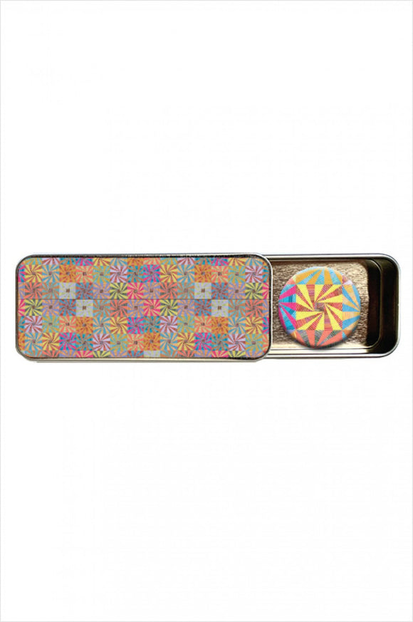 Quilt Dots, Magnetic Needle Tin, Kaffe Fassett Whirling Stripes