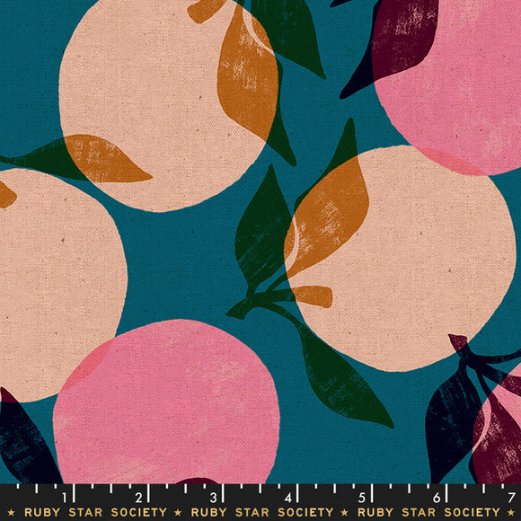 Cotton Linen Canvas 2019, Peaches, Teal
