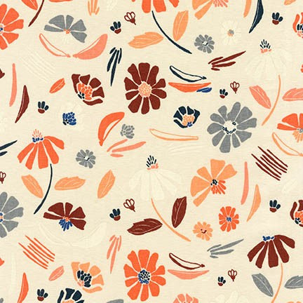 Forage Canvas, Floral, Champagne
