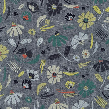 Forage Canvas, Floral, Indigo