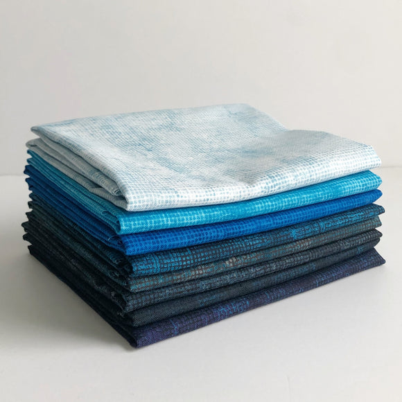 Chalk and Charcoal, Blues, Fat Quarter Bundle