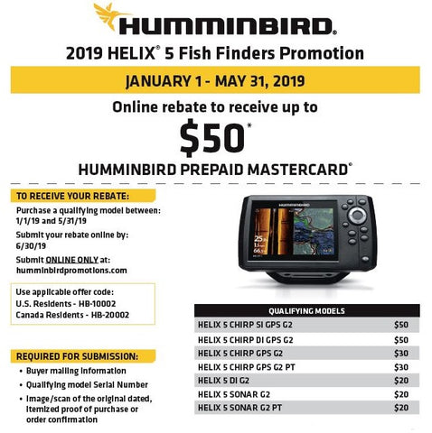 2019 Humminbird HELIX 5 Fish Finders Rebate