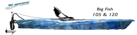 Island Hopper Transom-Mount Beaver Tail Trolling Motor for Feel Free 3 Waters Big Fish 105 & Big Fish 120 Kayaks