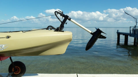 Island Hopper Transom-Mount Motor for Vibe Kayaks with Existing Rudders & Exposed Cables - [price] | Trolling Motors Online
