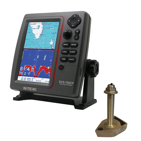 SI-TEX SVS-760CF Dual Frequency Chartplotter/Sounder w/In Hull Temp Transducer & Navionics+ Flexible Coverage