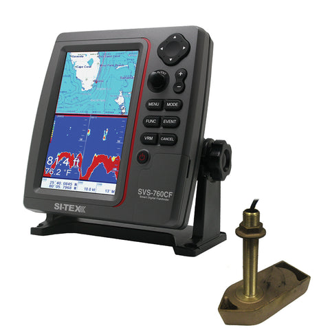 SI-TEX SVS-760CF Dual Frequency Chartplotter/Sounder w/ Navionics+ Flexible Coverage & 307/50/200T 8P Transducer