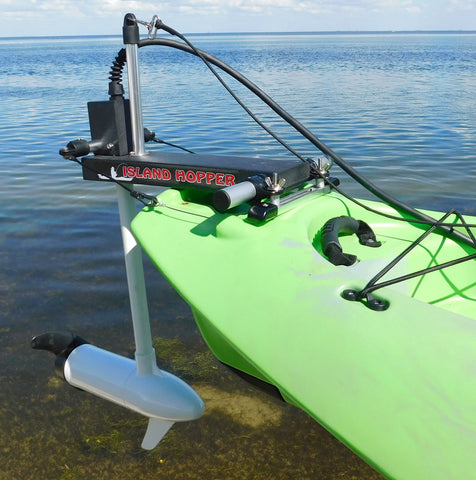 Island Hopper Transom-Mount Motor for Kaku Wahoo 10.5 & 12.5 Kayaks with Existing Rudders