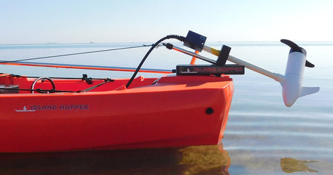 Island Hopper Transom-Mount Motor for Power Pole Ready Bonafide Kayaks without rudders