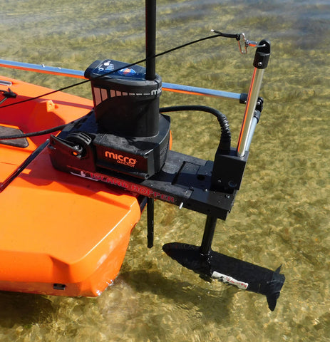 Island Hopper Transom-Mount Motor for Bonafide Kayaks using Power Poles