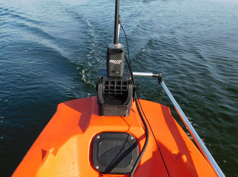 Island Hopper Transom-Mount Motor for Kayaks using Power Poles