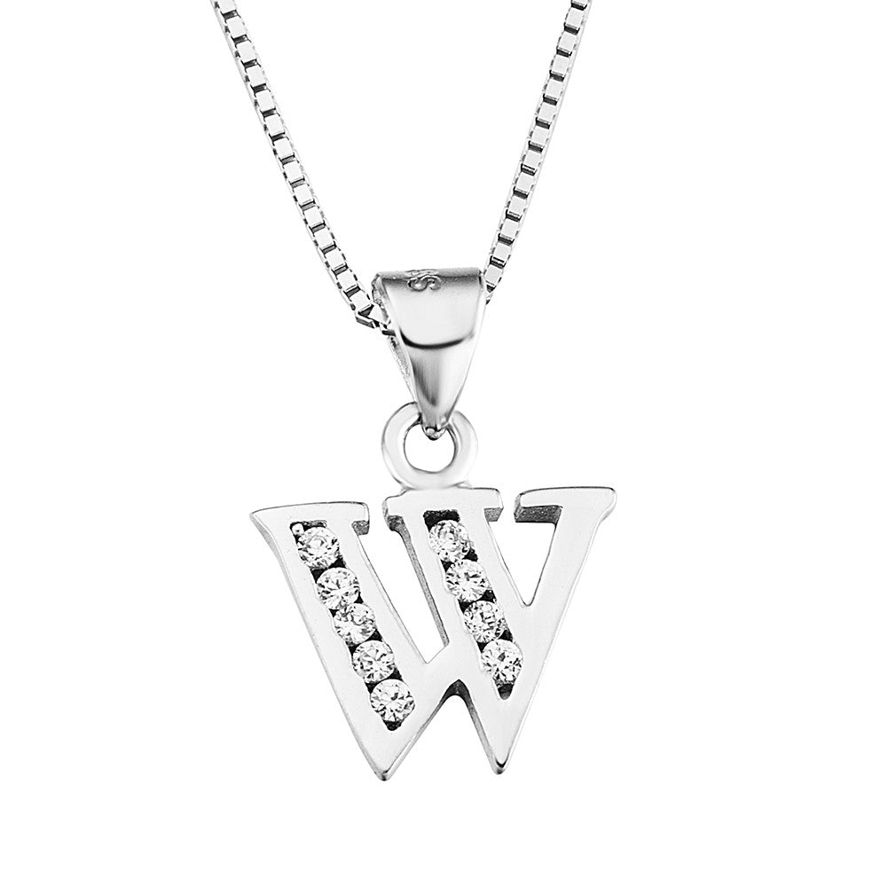 zirconia an ladies inch and cz of link real the pendant cubic with products necklace alphabet stones silver letters f sterling